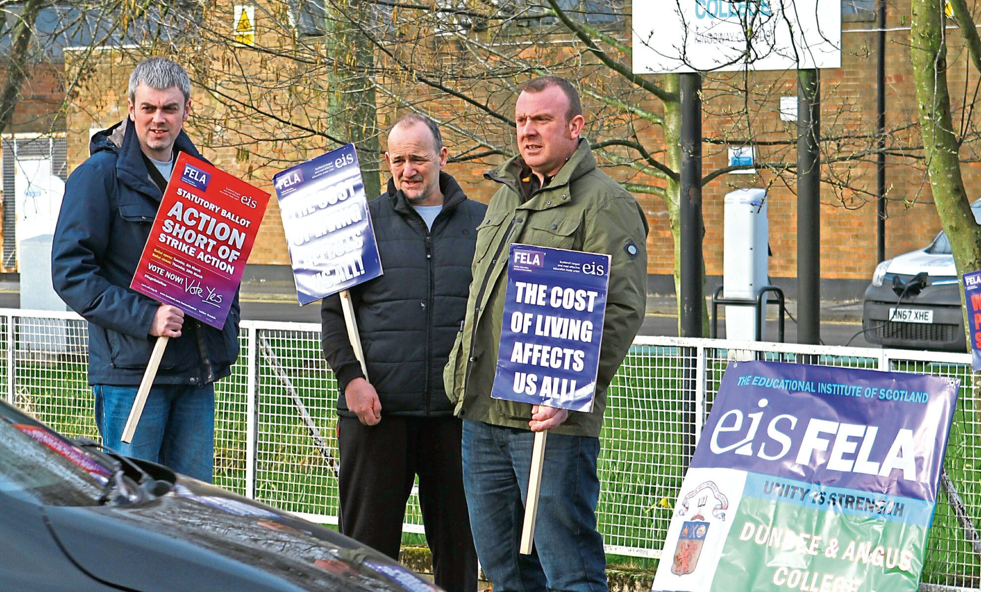 Protesters outside the college