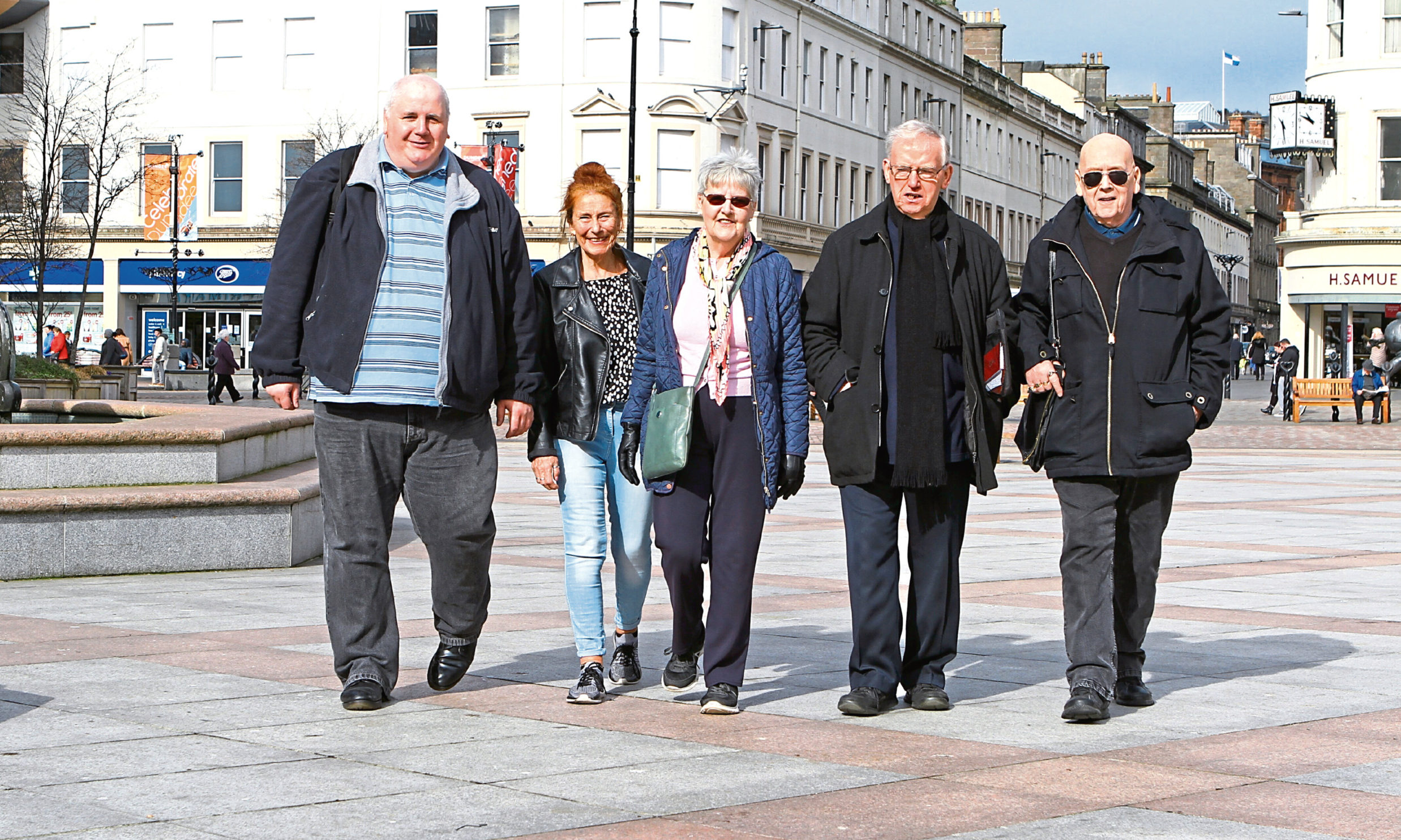 Dundee Pensioners Forum members Murray Webster, Barbara Myloff, Dorothy McHugh, Gordon Samson and Jim Elder on their way to the meeting to get the shower tax abolished.