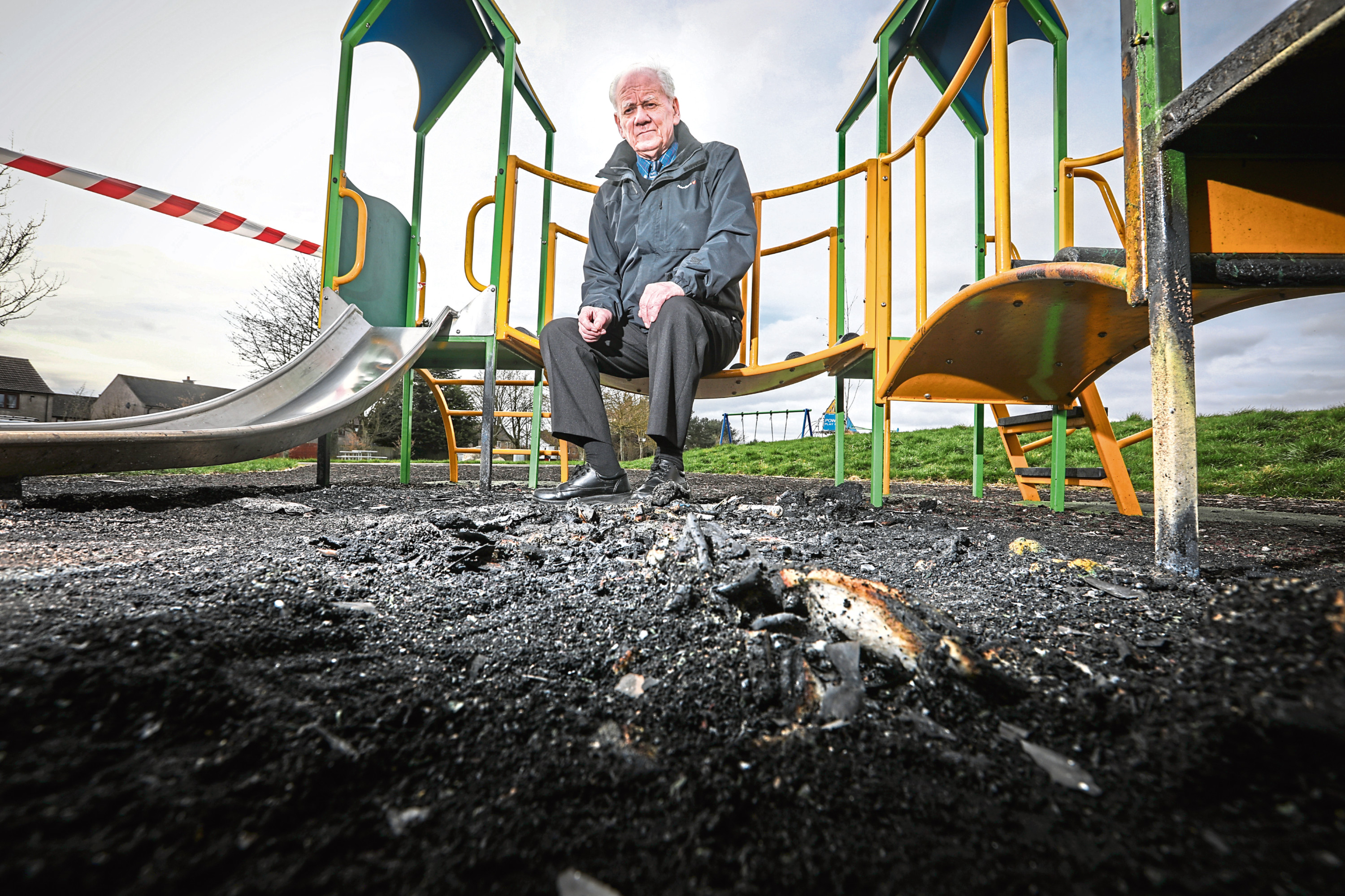 Ron Neave surveys the damage in Fintry.