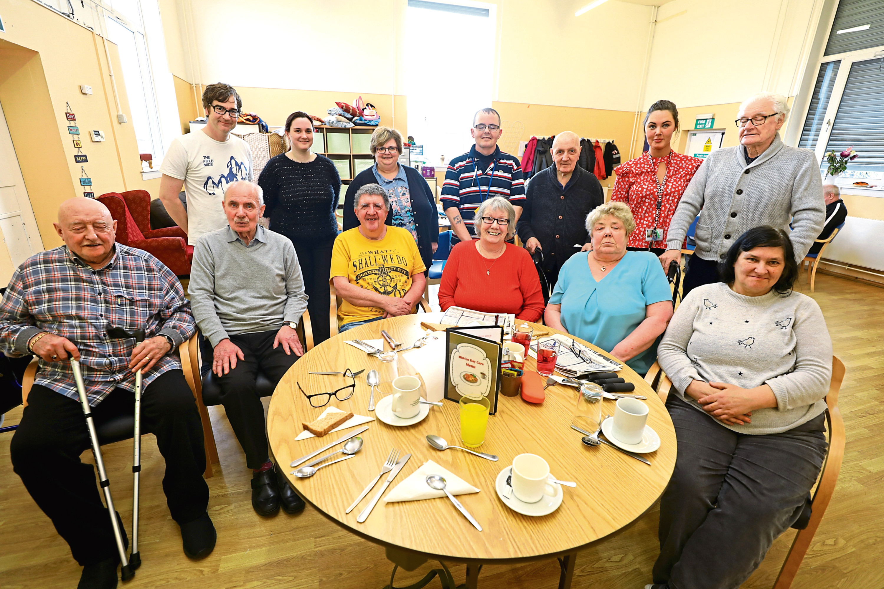 Service users, staff and volunteers at the centre.