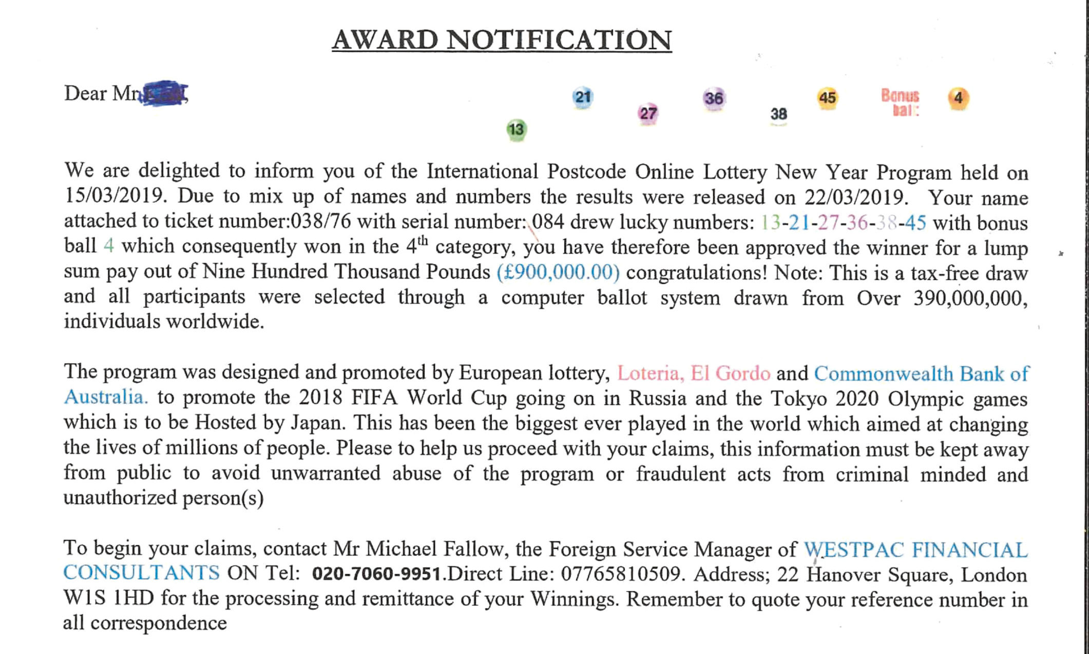 The scam letter circulating