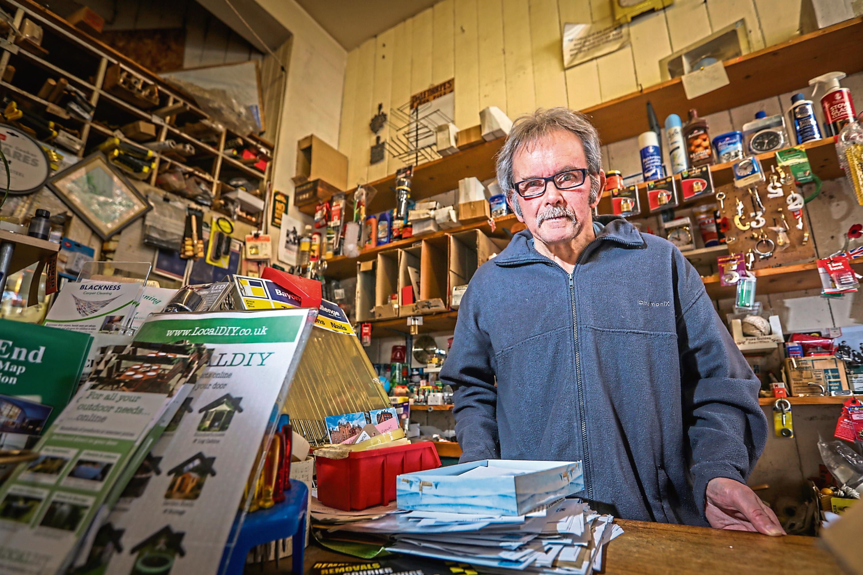 John Jordan is retiring from his hardware store, 'Andersons Stores' on Blackness Road.