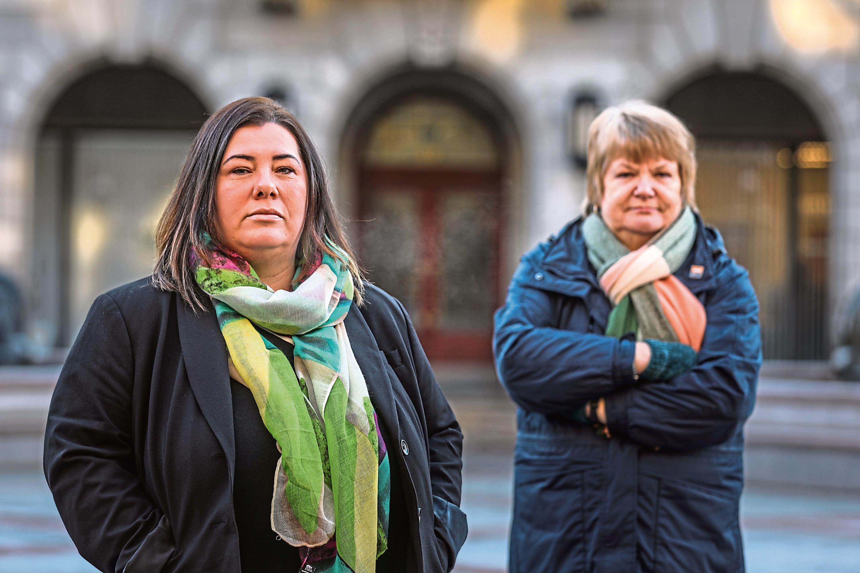 GMB Scotland Organiser Helen Meldrum (left).