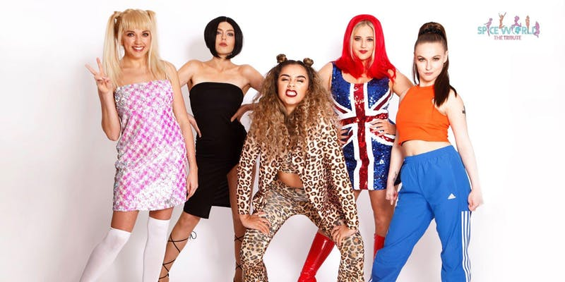 Amy Hart, left, with the rest of the Spice World members