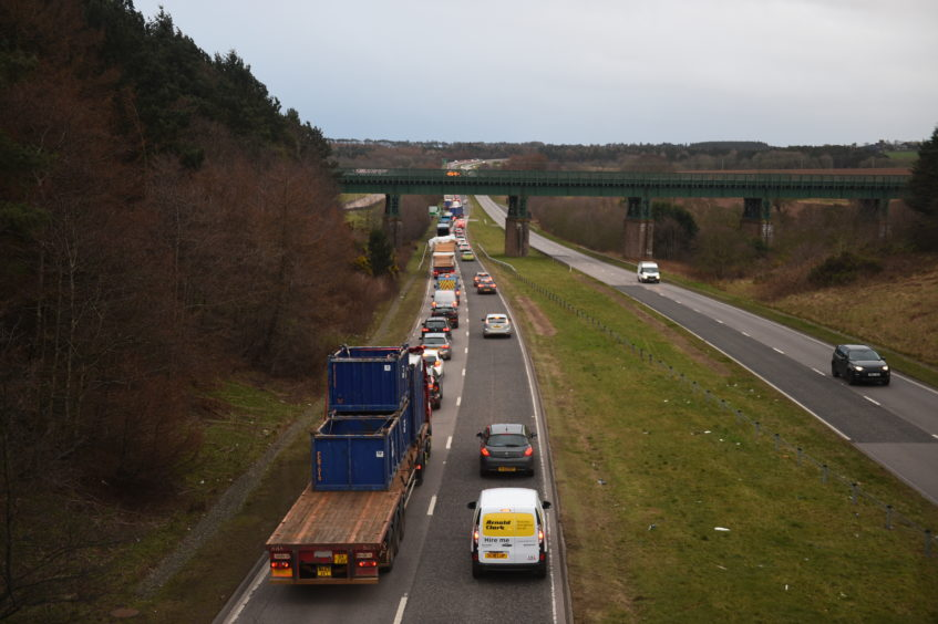 Tailbacks on the A90 following the fatal collision