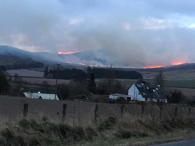 The fire in the Sidlaws reported this evening