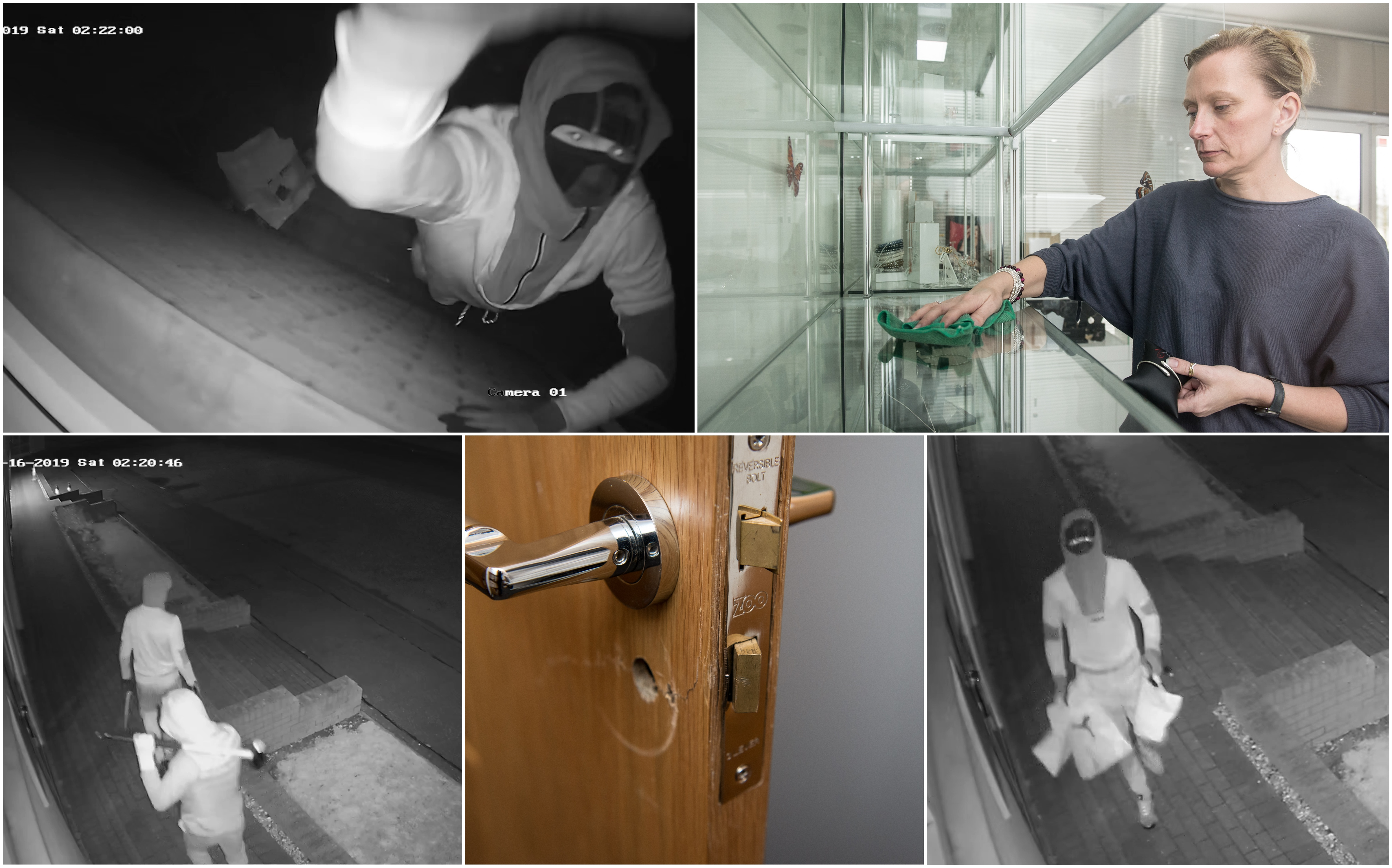 CCTV stills, the damage caused and Jo-Ann Kinnear clears up following the riad