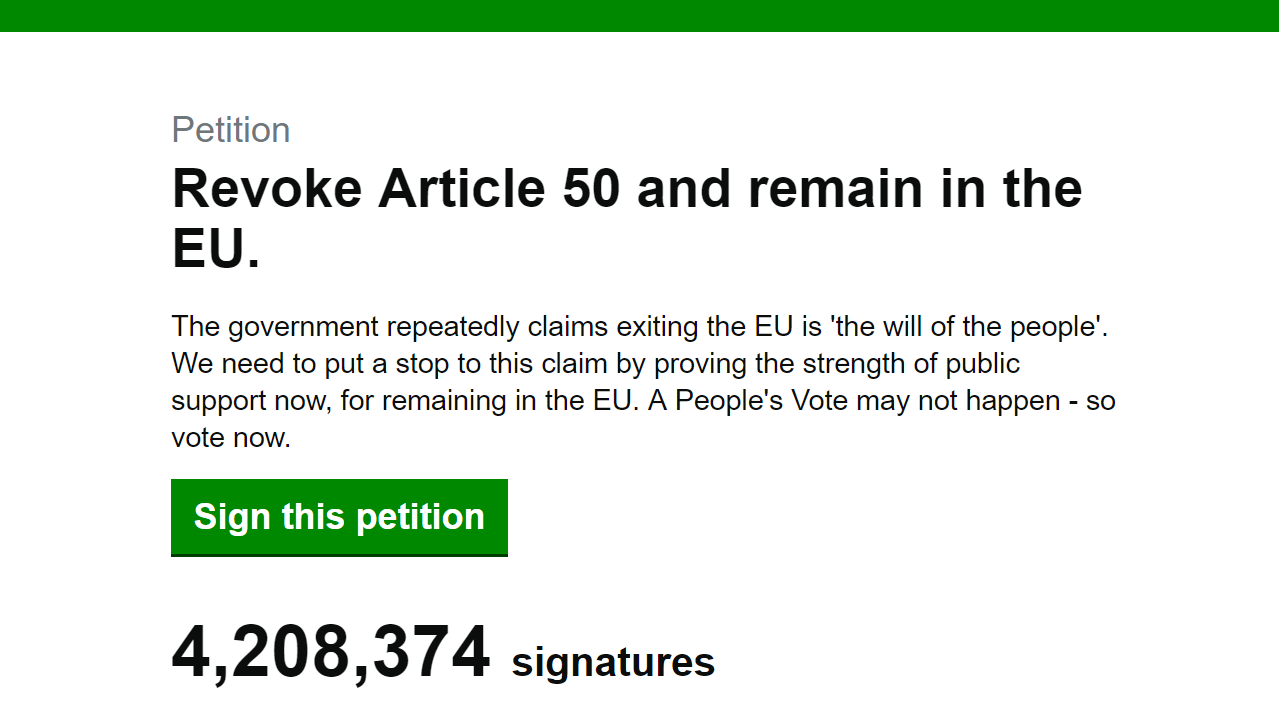 The petition has reached 4.2 million signatures and is rising.