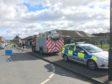 Police at the cordon earlier