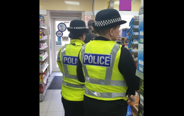 Police making checks in a Dundee shop