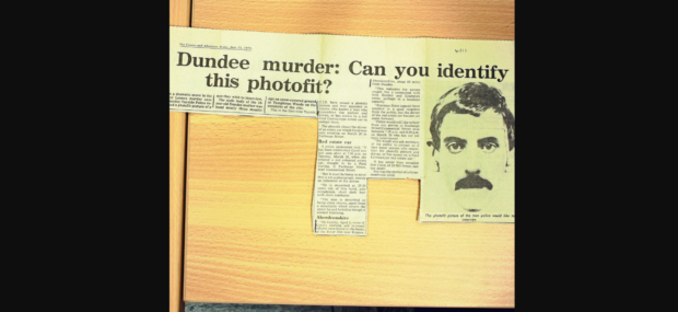 News clippings at the time of the crime show a moustached suspect