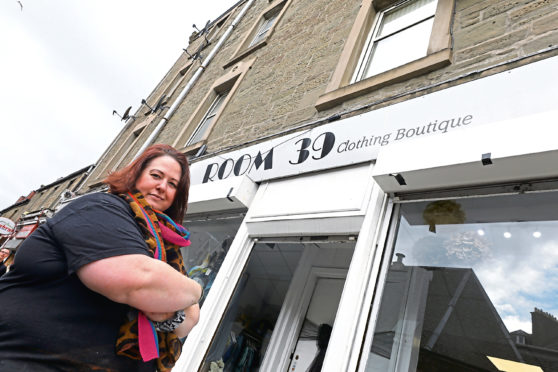 Wendy Sturrock outside her shop, Room 39, on Dura Street in Dundee