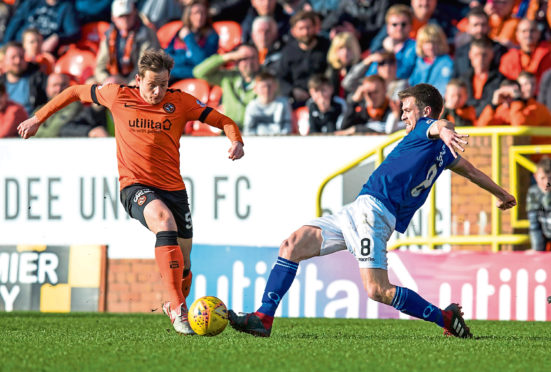 Dundee United's Peter Pawlett in action with Queen of the South's Kyle Jacobs.