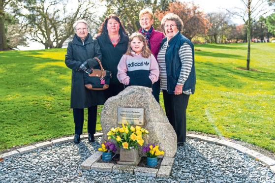 From left, Catherine Long, Tracy Moreton, eight-year-old Kayden Moreton, Linda McNaughton and Sandra Hall