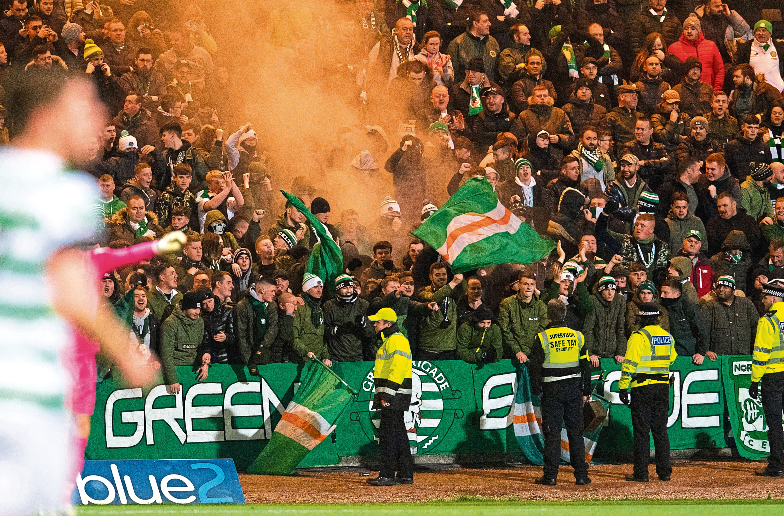 Celtic fans in the away end during their 5-0 win at Dundee in October 2018