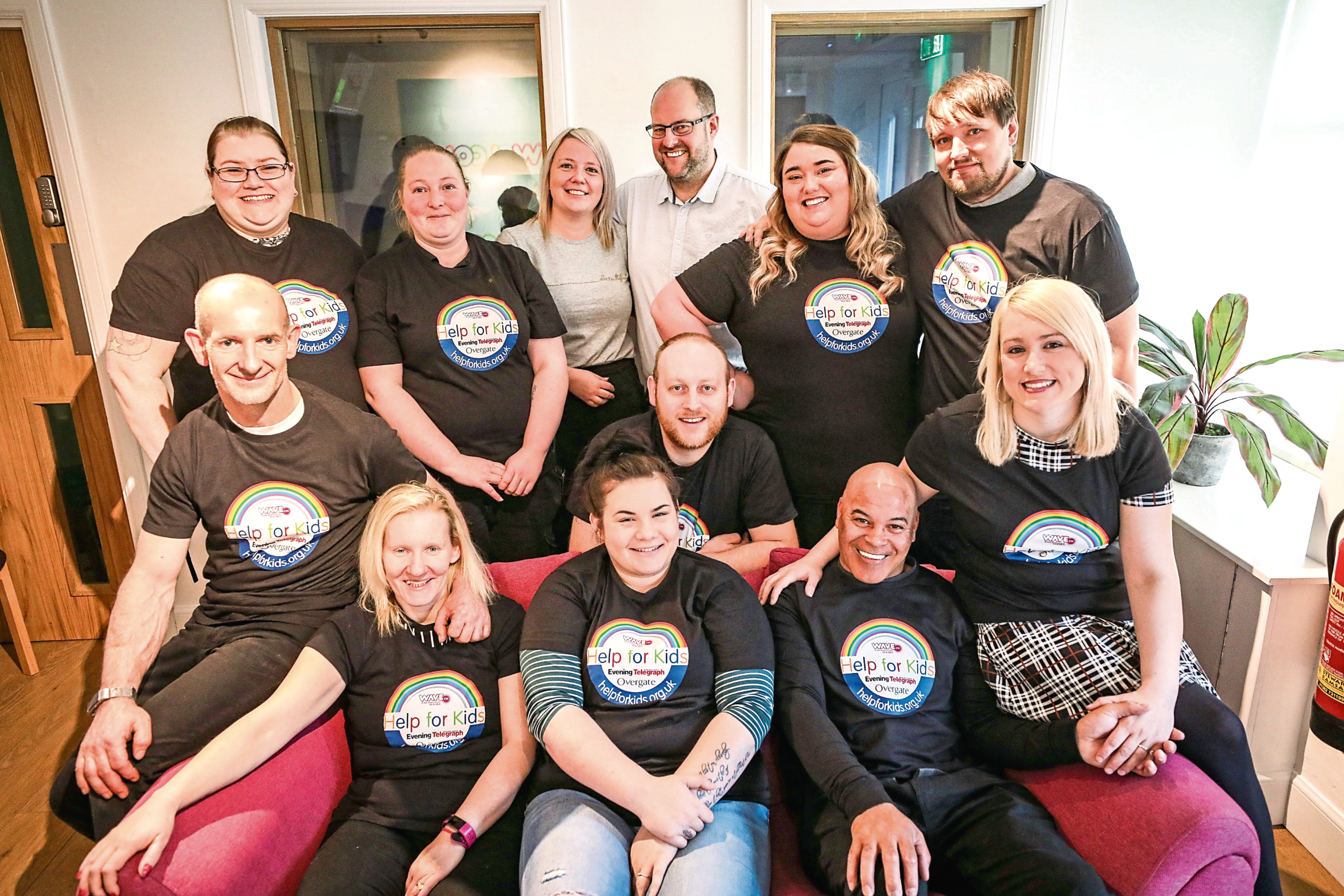 Some of the finalists at the Wave FM studios with staff from the charity and, right, from top, Chantelle Gibb and Grant Annobil, Billy Griffin and Pamela McLaughlan, and William Paterson and Jade Morrison