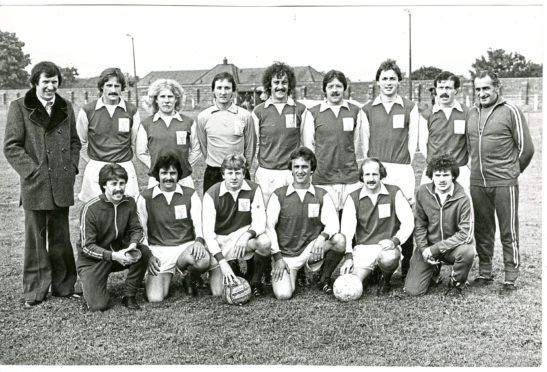 Carnoustie Panmure FC team photo from June 1979. Back row. left to right: D. Martin (manager), Ritchie, Mollison, Lee, J. McNicoll, McLardy, Wilson, Docherty, Fred Blues (trainer) Front - Rourke, Edmonds, Goodall, B. McNicoll, Smith, Reid.