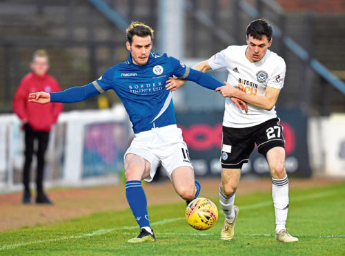 Ayr United right-back Liam Smith (right).