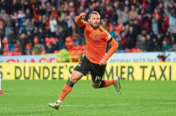 Dundee United's Pavol Safranko celebrates his goal to make it 1-1 against Ayr United.