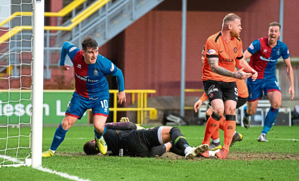Aaron Doran turns away to celebrate after scoring late on for Inverness against United last month.