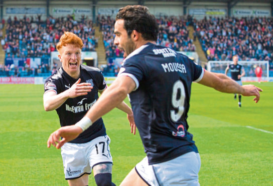 Dundee's Sofien Moussa celebrates his opener against Saints last year.