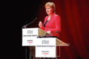 First Minister of Scotland Nicola Sturgeon addresses the Scottish Trade Union Congress (STUC) at the Caird Hall, Dundee.