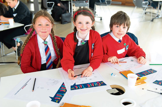 Some of the pupils who were involved in an editorial day at DC Thomson's Meadowside HQ