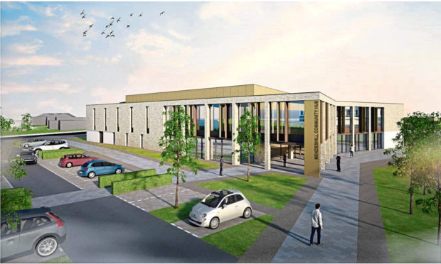 An artist's impression of the new community centre in Menzieshill