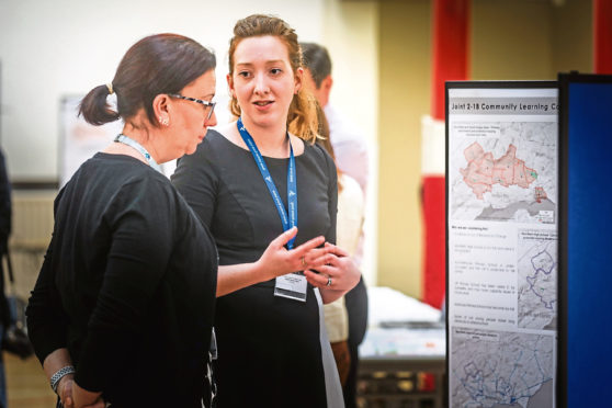 Angus Council's Beth Reader discussing with the public details of the proposal