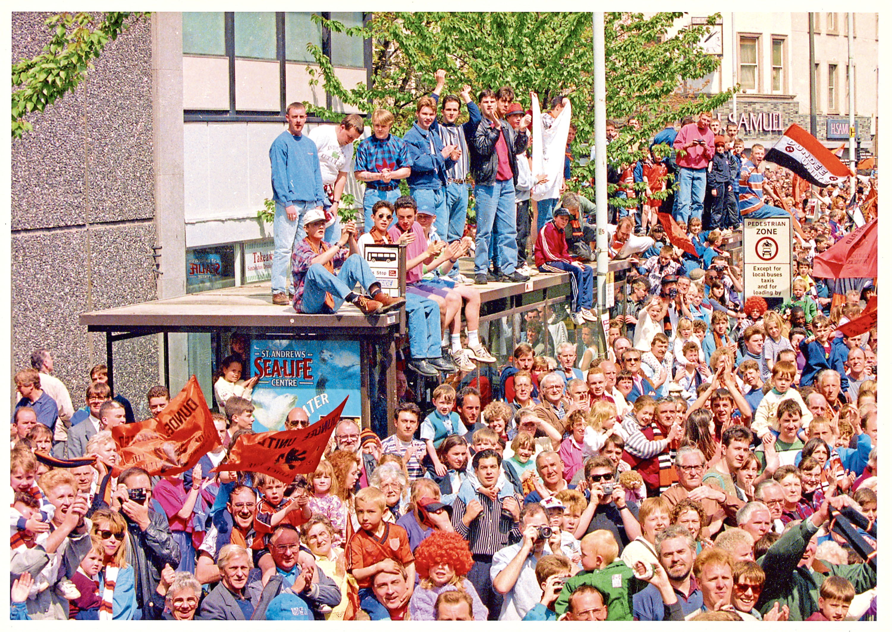 Dundee United supporters waiting for the team to arrive in the City Square, Dundee after the Scottish Cup victory over Rangers in 1994