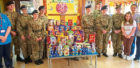The cadets at the ward with the donated treats.