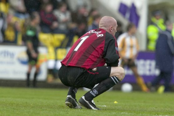 Former Dundee goalkeeper Derek Soutar at full-time at Almondvale after Dundee were relegated from the SPL following a 1-1 draw with Livingston back in 2005.