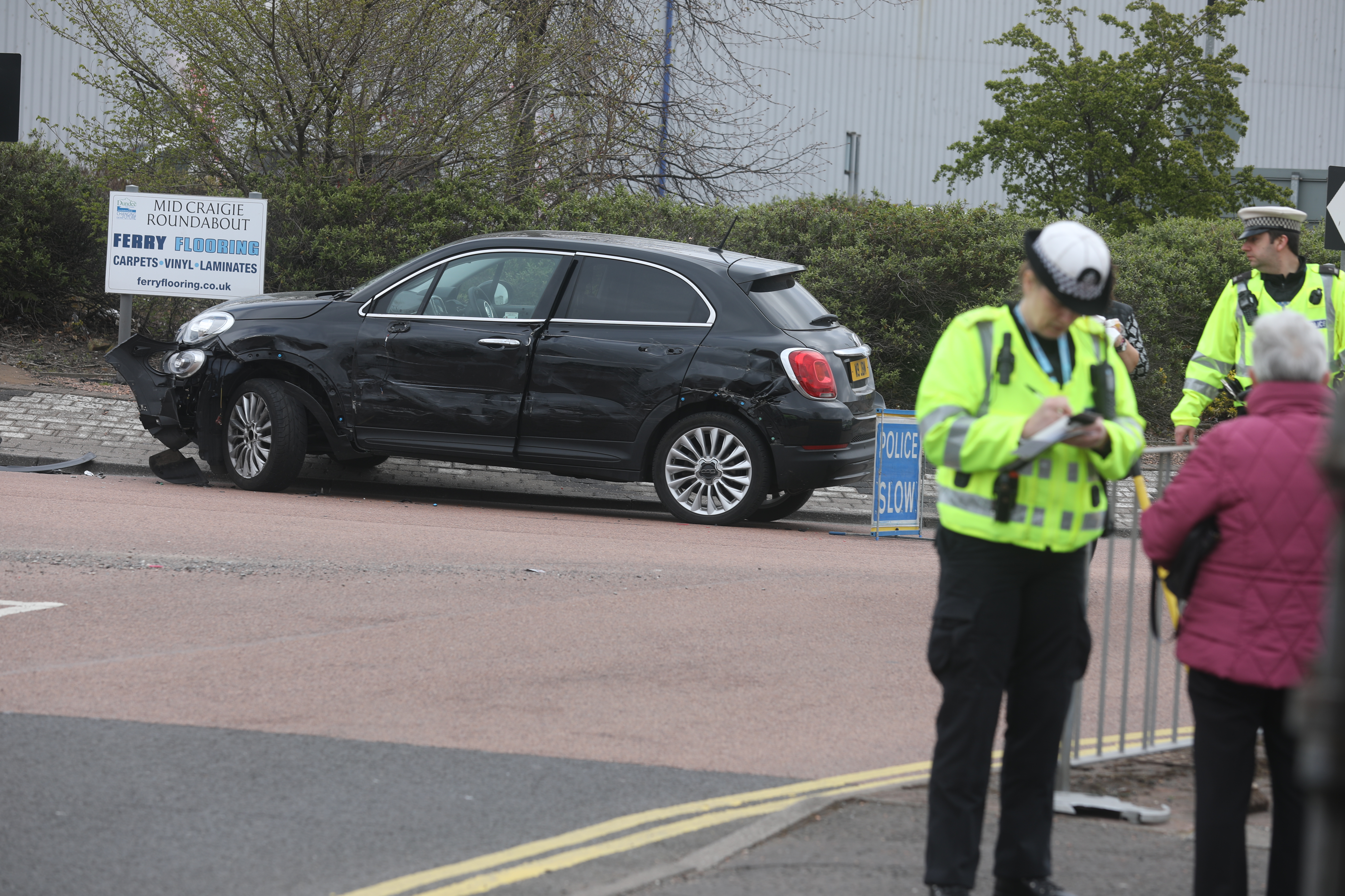 Police investigate a crash on the Kingsway