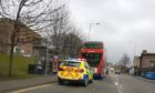 The bus in Dundee's Blackscroft following the crash.
