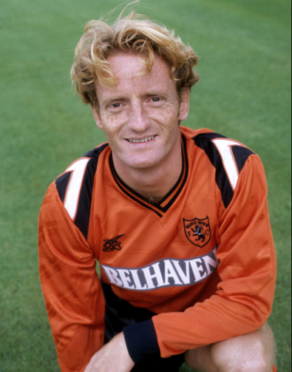 Dave Bowman in his playing days with United. The midfielder also received six caps for Scotland.
