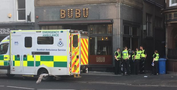 Emergency services at the scene of the incident.