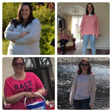 Donna (top right and left) before and after her weight loss, and Amanda, bottom left and right.