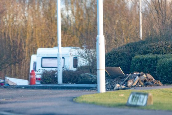 An anuathorised Traveller site in Fife earlier this year.