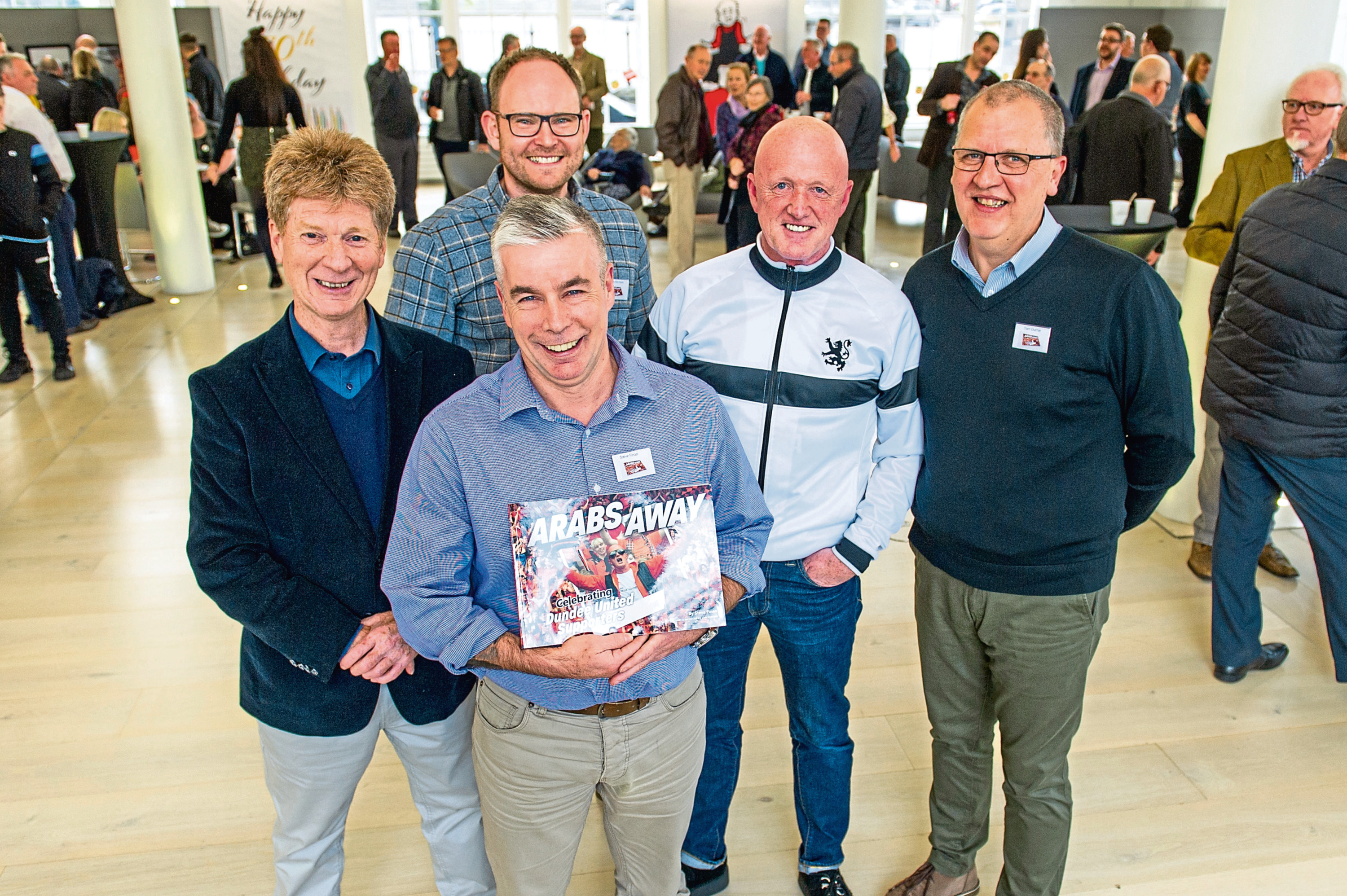 From left: Jim Spence, Gary Aitchison, Steve Finan, Billy Hoolachan, who appears on the cover, and Tom Duthie at the launch.