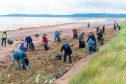 Volunteers get stuck in at Barry Buddon beach last year.