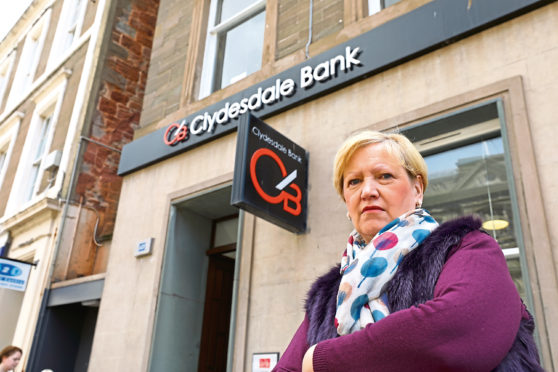 Councilllor Brenda Durno outside the Arbroath branch of the Clydesdale Bank.