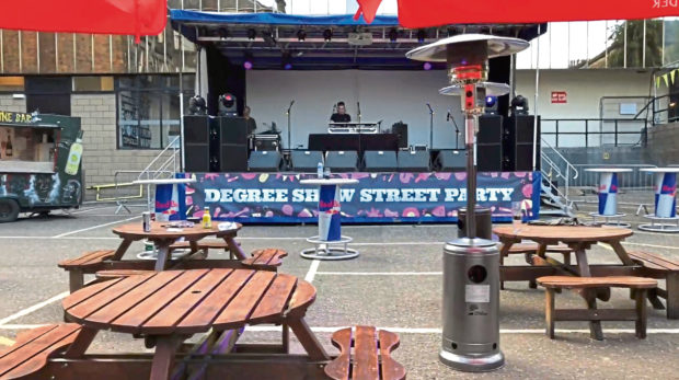 The degree show street party will be held on Perth Road, Dundee, on Friday night