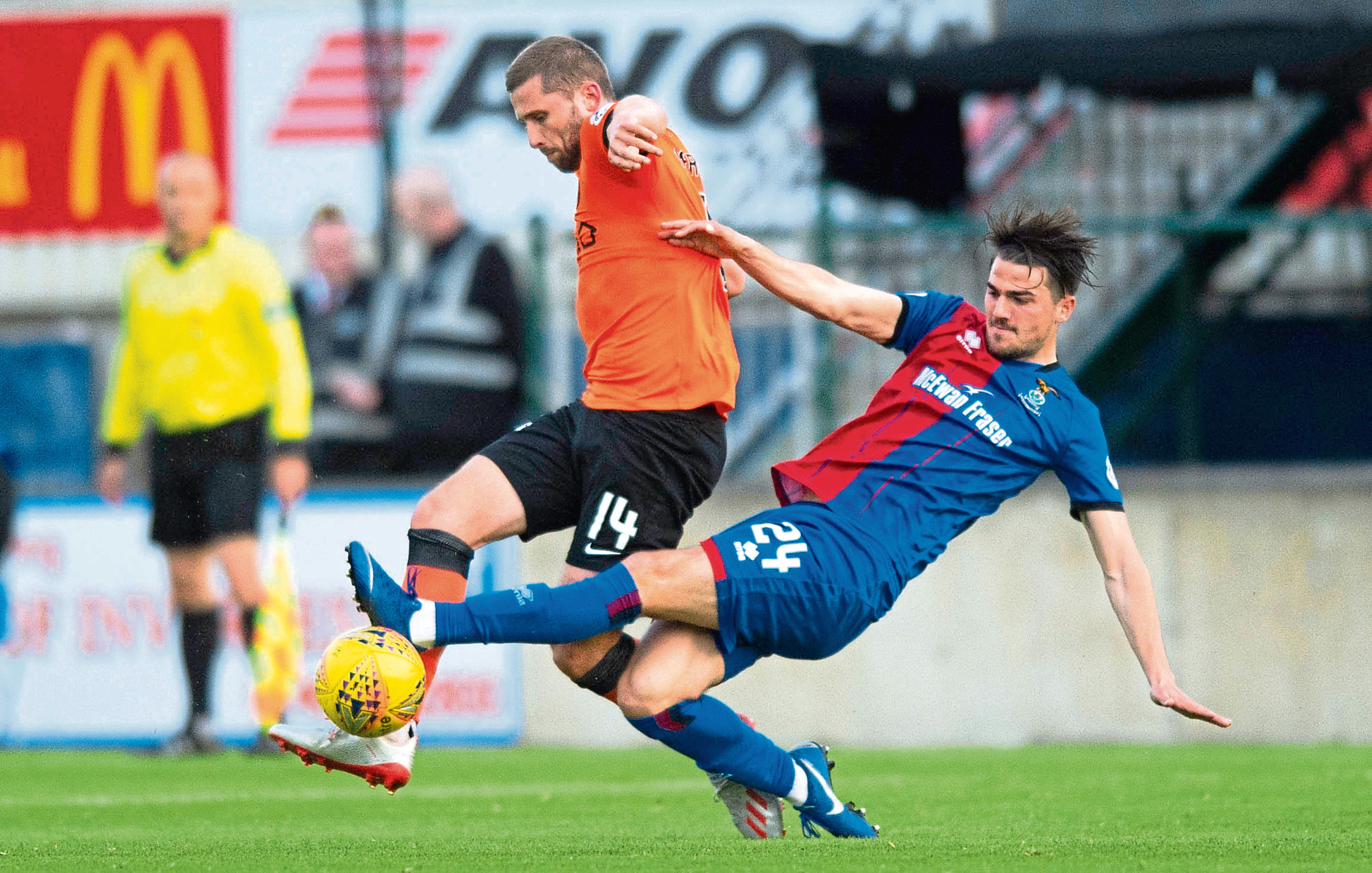 Dundee United striker Pavol Safranko failed to appear for the second half of last night's play-off first leg against Inverness Caley Thistle