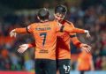Paul McMullan and Ian Harkes celebrate a goal earlier this year.