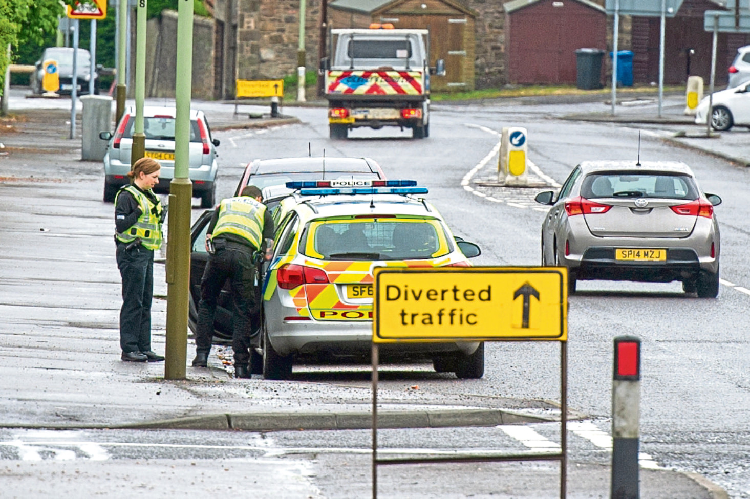 Police outside Craigie High School on Strips of Craigie