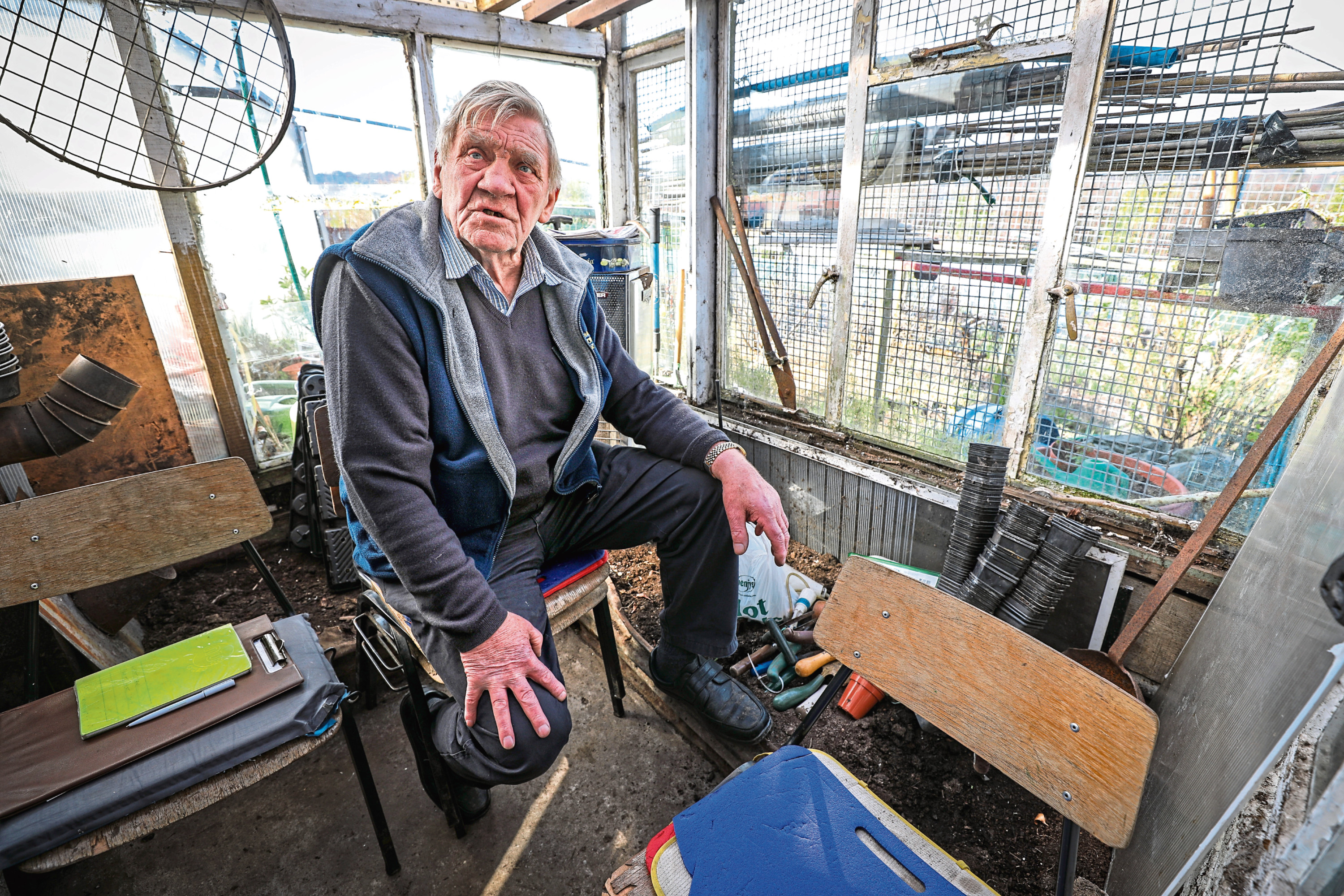 Don Elder locked himself in his allotment shed in protest at plans to evict him
