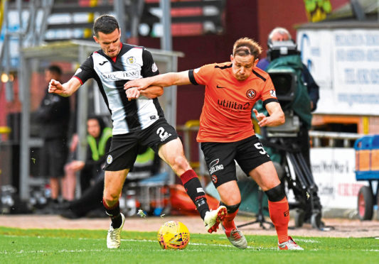 Dundee Utd's Peter Pawlett (right) and Paul McGinn in action in the play-off first leg.