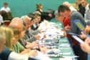 The European election count under way in Dundee.