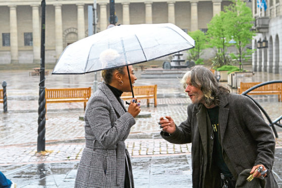 Emeli Sande with 'Fast Eddie' in Dundee city centre