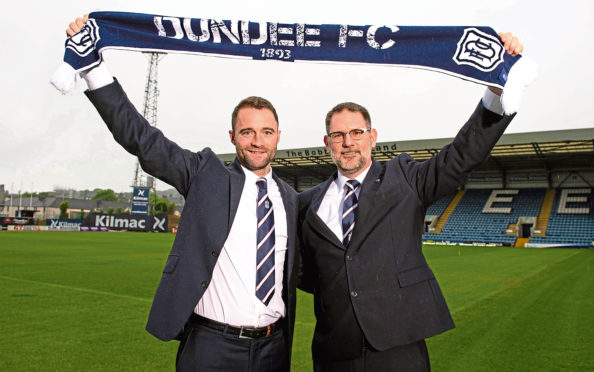 Dundee manager James McPake and managing director John Nelms.